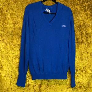 Izod Lacoste Vintage Acrylic V Neck Knit Sweater L